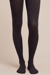 Anthropologie Dotted Charcoal Tights Dark Grey