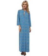 Tbags Los Angeles Long Sleeve Maxi W Side Slit Blue Multi Women's Dress