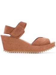 Pedro Garcia Open Toe Wedge Sandals Women Leather Suede Rubber 38.5 Brown