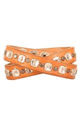 Will Leather Goods Studded Wrap Cuff Tan