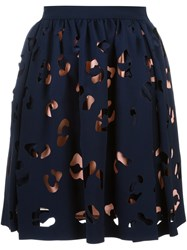 Msgm Cut Out Overlay Skirt Blue