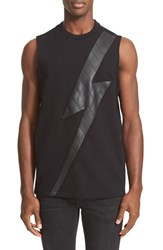 Neil Barrett Men's Faux Leather Thunderbolt Tank