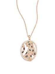 Effy Diamond Emerald And 14K Rose Gold Panther Pendant Necklace