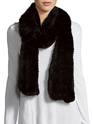 Saks Fifth Avenue Dyed Rabbit Fur Knit Scarf Black