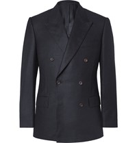 Kingsman Navy Slim Fit Double Breasted Brushed Cashmere Blazer Blue