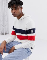 Jack And Jones Originals Knitted Hoodie With Body Stripe Cloud Dancer White