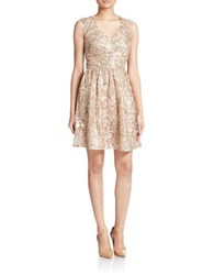 Decode 1.8 Sequined Filigree Embroidered Dress Champagne
