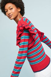 Anthropologie Striped Ruffle Sleeve Pullover Red