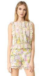 Zimmermann Valour Hydrangea Frill Top Floral Embroidery