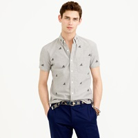 J.Crew Short Sleeve Chambray Shirt With Embroidered Octopi