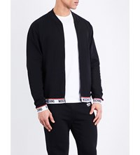 Moschino Tape Cotton Blend Bomber Jacket Black