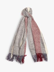 Barbour Munro Colour Block Scarf Grey Red