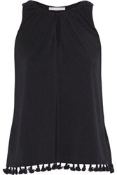 Tart Collections Cari Tassel Trimmed Stretch Modal Jersey Top Black