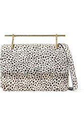 M2malletier Printed Calf Hair Shoulder Bag Off White Off White