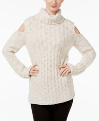 Marled Cold Shoulder Cable Knit Sweater Ivory