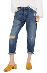 Topshop Petite Women's Hayden Ripped Boyfriend Jeans Dirty Blue