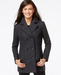 Inc International Concepts Double Breasted Peacoat Charcoal