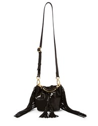 Brian Atwood Pippa Fringe Metallic Leather Bucket Bag Black