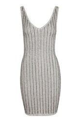 Topshop Sequin Ribbed Tunic Grey