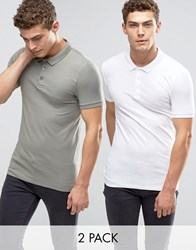 Asos 2 Pack Extreme Muscle Polo Shirt Save 15 In White Green White Mangrove Multi