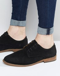 Asos Derby Shoes In Black Suede With Natural Sole Black