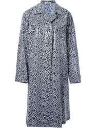 Jil Sander Flower Print Single Breasted Coat Black
