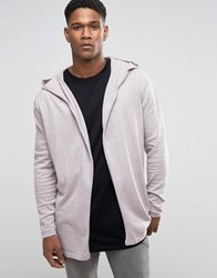 Asos Knitted Hoody Cardigan In Cotton Pink And Grey Twist