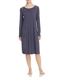 Hanro Franca Long Sleeve Gown Purple Gray