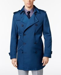 Calvin Klein Men's Slim Fit Double Breasted Raincoat Blue