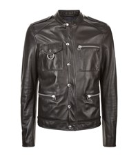 Lanvin Ring Detail Leather Jacket Male Black