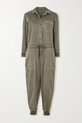 James Perse Mixed Media Slub Cotton Blend Twill Jumpsuit Green
