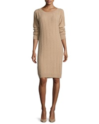 Neiman Marcus Cashmere Collection Long Sleeve Cable Knit Cashmere Dress