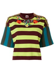 I'm Isola Marras Embellished Embroidered Striped Top Multicolour