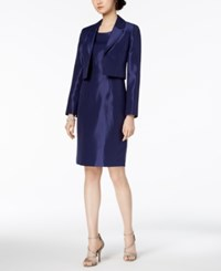 Le Suit Shiny Kiss Front Jacket And Dress Regular And Petite Navy