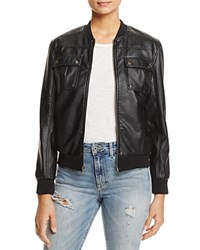 Cupcakes And Cashmere Dugan Faux Leather Bomber Jacket Black