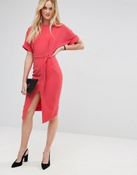 Asos Wiggle Dress With Split Front With D Ring Belt Coral Orange