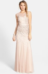 Women's Adrianna Papell Beaded Chiffon Gown Blush
