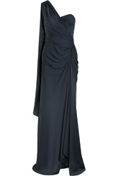 Amanda Wakeley One Shoulder Draped Silk Georgette Gown Blue