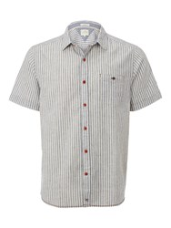 White Stuff Men's Promenade Stripe Short Sleeve Shirt Navy