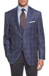 David Donahue 'Connor' Classic Fit Plaid Wool Sport Coat Blue