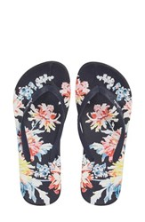 Joules Embellished Flip Flop Navy Whitstable Floral
