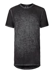 Topman Navy And Black Burnout Longline T Shirt