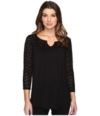 Nydj Norse Lace Knit Pullover Black Women's Clothing