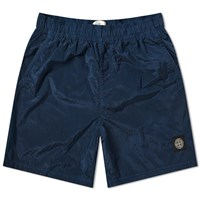 Stone Island Garment Dyed Nylon Metal Patch Logo Swim Short Blue