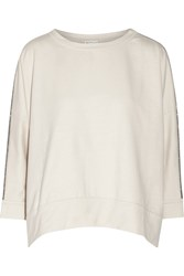 Brunello Cucinelli Chain Embellished Stretch Cotton Jersey Sweatshirt White