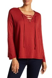Sundry Long Sleeve Slub Lace Up Tee Red