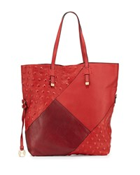 Halston Heritage Colorblock Leather Tote Bag Chili Red