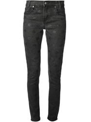 American Retro Lips Patterned Skinny Jeans Black