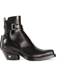 Versace Square Toe Boots Black