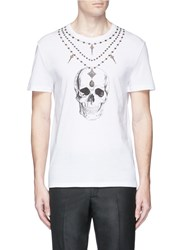 Alexander Mcqueen Skull Necklace Print Organic Cotton T Shirt White